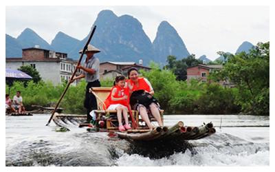 Bamboo Raft in Yangshuo Guilin